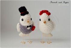 Crochet Bride And Groom Birds cakepins.com