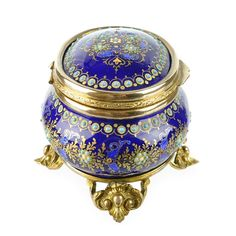 Antique French Enamel Jewelry Box with Jeweled Beading, Cobalt Blue