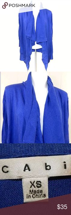 """CAbi Chelsea Topper Open Front Cardigan Lightweight blue open front cardigan by CAbi. This is the Chelsea topper sweater, style #835. Size XS, 16"""" pit-pit and 24"""" length. Gently loved with a few snags. No trades. CAbi Sweaters Cardigans"""