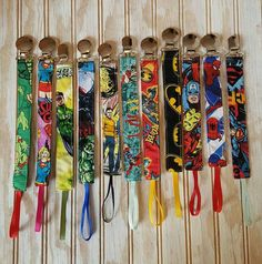 Superhero Pacifier Clips Marvel Batman Spiderman TMNT Star Trek Green Lantern Wonder Woman https://www.etsy.com/listing/246709559/superhero-pacifier-clips-leash-binkie