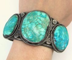 """Old Pawn Navajo Sterling Silver Natural Turquoise Cuff Bracelet Signed """"ST"""" 