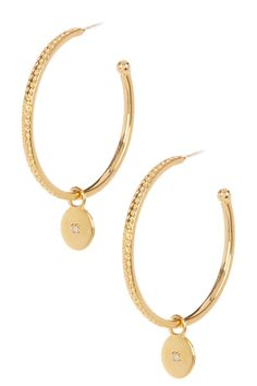 14K Yellow Gold Vermeil & White Diamond Hammered Hoop Earrings- 0.02 ctw by Savvy Cie on @HauteLook http://www.savvycie.com