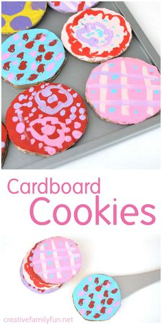 Cardboard Cookies - Creative Family Fun - - Use your scrap cardboard boxes to make up a batch of cardboard cookies that are so much fun to decorate. This is a simple kids craft that results in a fun pretend play toy. Cardboard Crafts Kids, Recycled Crafts Kids, Easy Crafts For Kids, Toddler Crafts, Art For Kids, Cardboard Boxes, Cardboard Playhouse, Diy Karton, Biscuits