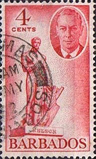 Barbados 1950 SG 274 Statue of Nelson Fine Used SG 274 Scott 219 Other West Indies Stamps Here