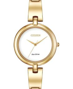 Citizen Women's Silhouette Eco-Drive Gold-Tone Stainless Steel Bangle Bracelet Watch Gold Bangles, Bangle Bracelets, Bracelet Watch, Toned Women, Citizen Eco, Stylish Watches, Fashion Watches, Gold Watch, Jewelry Watches