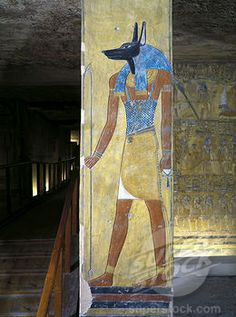 Egypt, Thebes, Luxor, Valley of the Kings, Tomb of Tausert and Setnakhte KV14 , mural painting of Anubis on pillar in Burial chamber from 20th dynasty