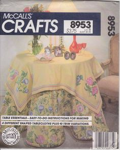Tablecloth Pattern  Round Tablecloth 4 Shapes 10 Trim Variations Side Table Uncut  McCalls 8953 by PrettyfulPatterns on Etsy