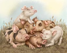 Pigs Painting - Love Will Keep Us Together by Beverly Levi-Parker