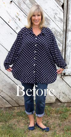 BEFORE !! polka dot shirt redesign tutorial
