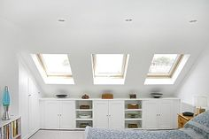 Oooh, if we ever put skylights into our new attic space... I like the storage cubbies and platform for lots of plants :)