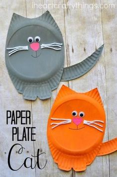 Simple and fun paper plate cat craft for kids. Fun animal kids craft, cat craft for kids, paper plate craft for kids, and simple preschool craft. by ora