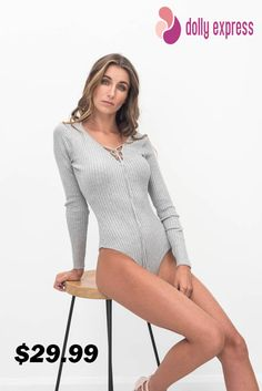 long-sleeve bodysuit with criss cross front details. Instantly elongates your body.The stylish bodysuit gives a perfect opportunity to try out a sleek new look that continues to grow in popularity with leading icons in pop culture, movies and music wearing this item.