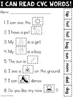 This quick print-and-go worksheet is a simple activity for CVC practice. Can also be used as a rainy day activity or for a substitute. Simply match the word with the picture. cut and paste. Well done Aarushi Cvc Worksheets, Reading Worksheets, Cut And Paste Worksheets, Reading Resources, The Words, Kindergarten Literacy, Free Kindergarten Worksheets, Kindergarten Language Arts, Reading Centers
