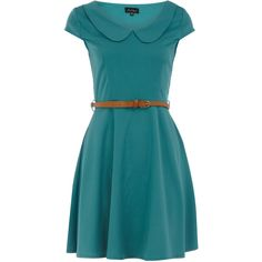 Green peter pan collar dress (140 BRL) ❤ liked on Polyvore featuring dresses, vestidos, blue, robes, green, green peter pan dress, green day dress, blue dress, blue dress with belt and cap sleeve short dress