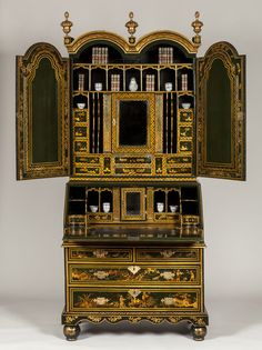 A Highly Important Queen Anne Green & Gilt Japanned Bureau Cabinet - English circa 1710