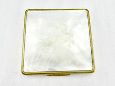 Vintage Gold Powder Compact Mirror Hand-Carved by RedGarnetVintage