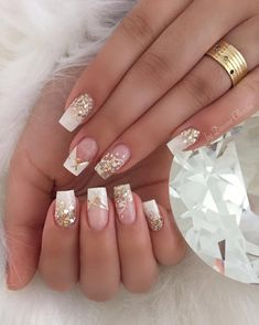 french nails coffin Nailart in 2020 Elegant Nails, Classy Nails, Stylish Nails, Pink Nails, Glitter Nails, Gel Nails, Manicure, Nail Swag, French Nails