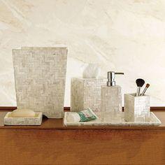 Herringbone Capiz Shell Bath Accessories Ivory