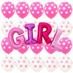 Pink White Polka dot Minnie Mouse Balloons Girl Baby shower Birthday Party Decor #Sempertex #BirthdayChild