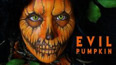 Welcome to Day 12 of my Halloween makeup tutorials. This one is based on a evil pumpkin. Halloween Makeup Witch, Amazing Halloween Makeup, Halloween Make Up, Halloween Costumes, Halloween Outfits, Halloween Ideas, Halloween Decorations, Halloween Face, Evil Pumpkin