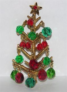 Hollycraft Dangling Crystal Balls Ornaments Christmas Tree Pin ~ Book Piece