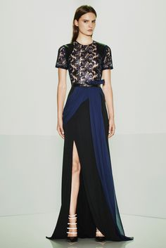 Prabal Gurung | Resort 2015 | 36 Navy/black short sleeve maxi dress with sheer floral top and side slit