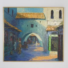 Large Middle Eastern Buildings Painting | FS Henemader Antiques