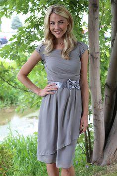 Jasmine Modest Dress in Chiffon Slate Gray-cute bridesmaid