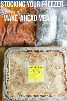 How to Stock Your Freezer with Make-Ahead Freezer Meals - Favorite recipes and tips on keeping everything fresh! Make-Ahead Freezer Meals: A big list of my favorite freezer meals, as well as tips and advice for keeping freezer meals fresh and tasty. Plan Ahead Meals, Make Ahead Freezer Meals, Crock Pot Freezer, Dump Meals, Freezer Recipes, Crockpot Meals, Freezable Meals, Meals To Freeze, Freezer Desserts