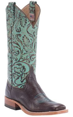Anderson Bean® Ladies Brown Busted Calf with Turquoise Antique Tool Top Square Toe Cowboy Boot
