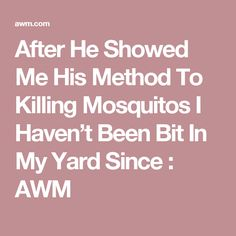 After He Showed Me His Method To Killing Mosquitos I Haven't Been Bit In My Yard Since : AWM