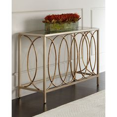 Doss Mirror-Top Console Table featuring polyvore, home, furniture, tables, accent tables and mirror top table