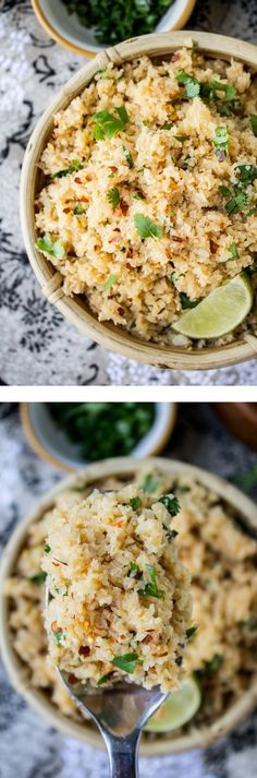 """Asian Cauliflower """"Rice"""" from The Food Charlatan // This is a great sub for rice if you are on a low-carb diet! Pair with curry, stir fry, pork, beef, chicken, etc."""