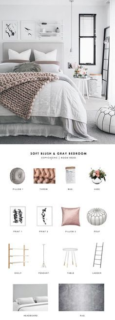 This soft, Scandinavian blush and gray bedroom by Oh Eight Oh Nine gets recreate. This soft, Scandinavian blush and gray bedroom by Oh Eight Oh Nine gets recreated for less by Copy Cat Chic luxe living for less room redo budget home. Home Decor Bedroom, Bedroom Bed, Blush Bedroom Decor, Bedroom Furniture, Blush Grey Bedroom, Bedroom Colors, Bedroom Prints, Scandinavian Bedroom Decor, Furniture Ideas