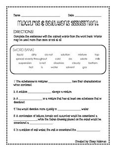 Mixtures And Solutions Worksheet - Worksheets