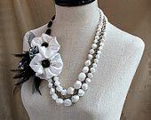 BLACK and WHITE Ball * Special SALE Price* Statement Wearable Art Mixed Media Necklace
