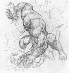 Venom tearing Green Goblins head off WIP by Frank Cho Couple Poses Drawing, Drawing Poses, Drawing Tips, Drawing Sketches, Comic Book Characters, Marvel Characters, Comic Character, Comic Books Art, Spiderman Kunst