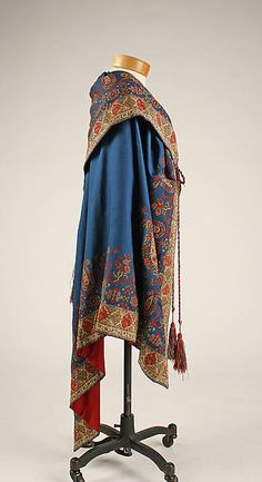 Evening cape. 1860s. European. Medium: silk, cashmere. Dimensions: Length at CB: 48 in. (121.9 cm). Accession Number: 1979.347.1. Metropolitan Museum of Art