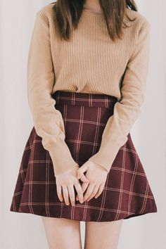 Korean fashion - camel sweater and red plaid skirt