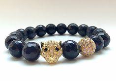 Leopard Bracelet, Gold Jewelry Pave CZ Diamond, Dark Blue Goldstone Beads, Pave Leopard Head, Unisex by CsDezigns on Etsy