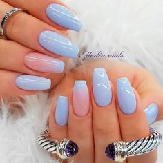 Best Ideas How To Make Ombre Nails Designs + Tutorials Blue Ombre Nails . - best ideas on how to make ombre nails designs + tutorials blue ombre nails ❤ You no longer have to wonder how to make Ombre-N - Coffin Nails Ombre, Blue Ombre Nails, Glitter Accent Nails, How To Do Ombre, How To Ombre Nails, How To Do Nails, Ombre Nail Designs, Acrylic Nail Designs, Best Acrylic Nails