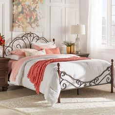 Queen Bed Frame Bronze iron scrolled metal headboard footboard European style. Includes: headboard, foot-board, and set of rails. Headboard dimensions: 53.5 inches high.