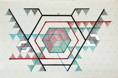 The exhibition: The Language of Human Consciousness / Photo: Monir Shahroudy Farmanfarmaian, Drawing 02, 2009, Felt marker, color pencil and mirror on paper, 62 x 95 cm / Courtesy of the Artist and the Third Line Gallery