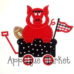 Machine Embroidery Design Applique Hog Wagon by tmmdesigns on Etsy, $4.00