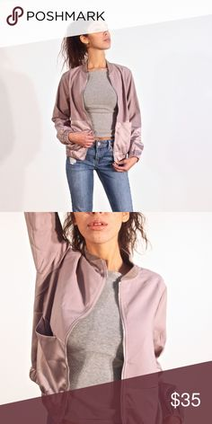 Taupe Bomber Taupe Bomber with Satin pocket details Jackets & Coats