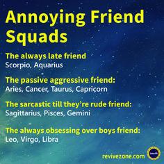 annoying friend squads, zodiac signs, aries, taurus, gemini, cancer, leo, virgo, libra, scorpio, sagittarius, capricorn, aquarius, pisces