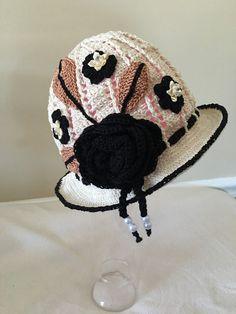 Black and Tan Crochet Hat Easter Bonnet Girls Hats by AZenCreation