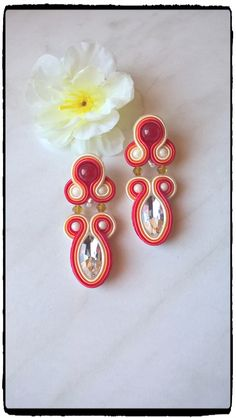 "Soutache earrings ""Larme "" with red 😉"