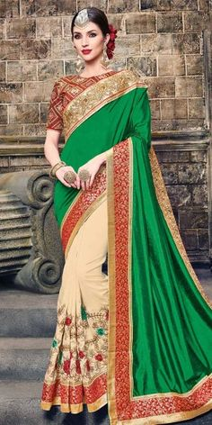 Pretty Green And Cream Art Silk Saree With Blouse.