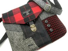 Crossbody Purse iPhone pocket Recycled mens suit by SewMuchStyle etsy. Love this one!